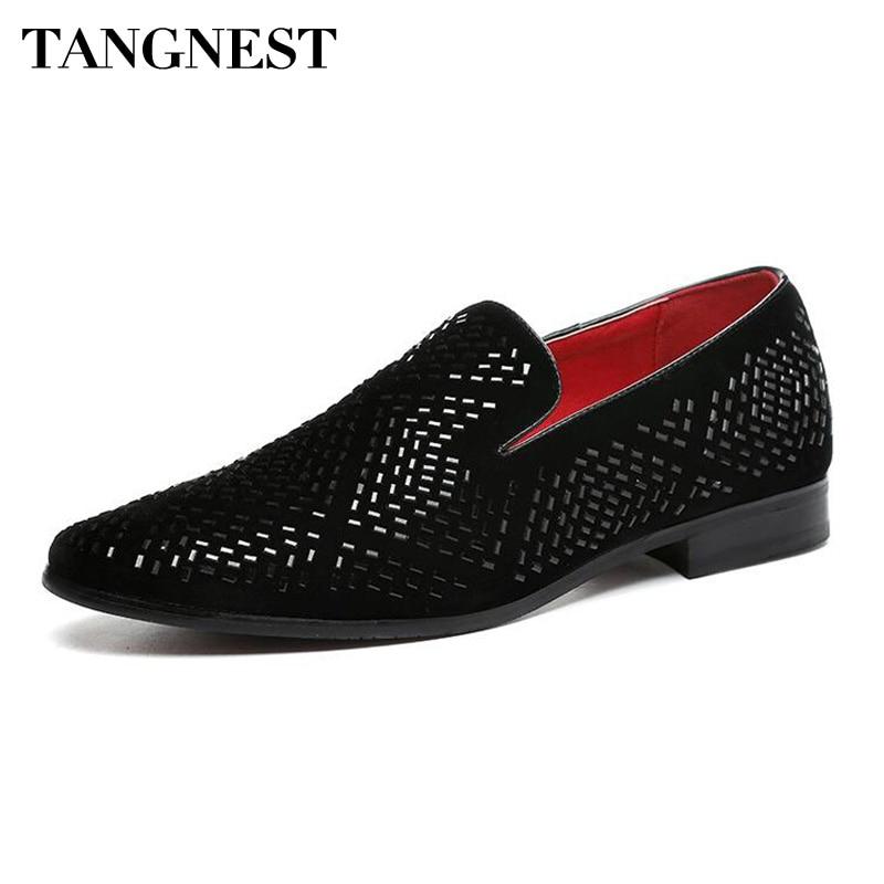 Tangnest Luxury Men Dress Skor Fashion Pointed Toe Loafers Split - Herrskor