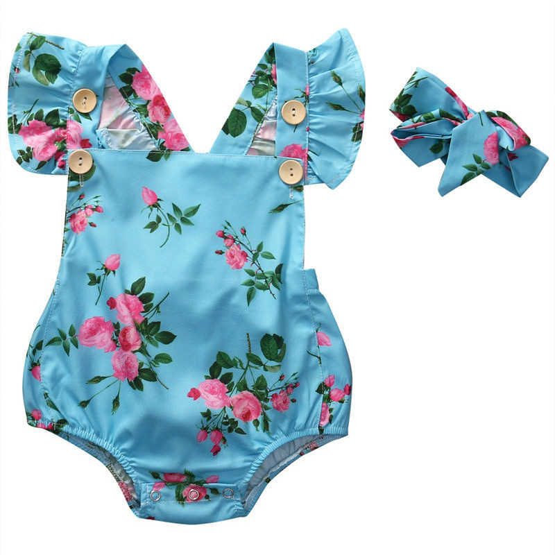Summer 2PCs Infant Baby Girls Floral Backless Romper Ruched Sleeve Bodysuit Jumpsuit Outfits Sunsuit Buttons Clothes Fashion Set