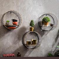 Etagère murale ronde métal bois 1