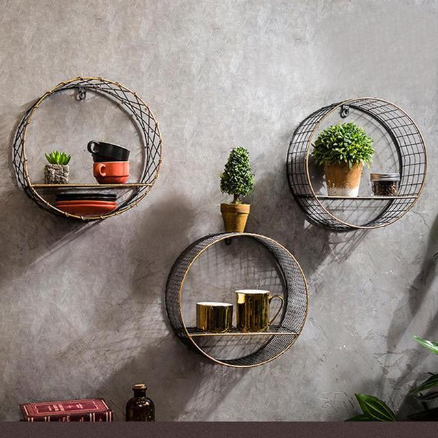 3 Sizes Retro Wall-Mounted Metal Rack Circular Mesh Iron Shelf