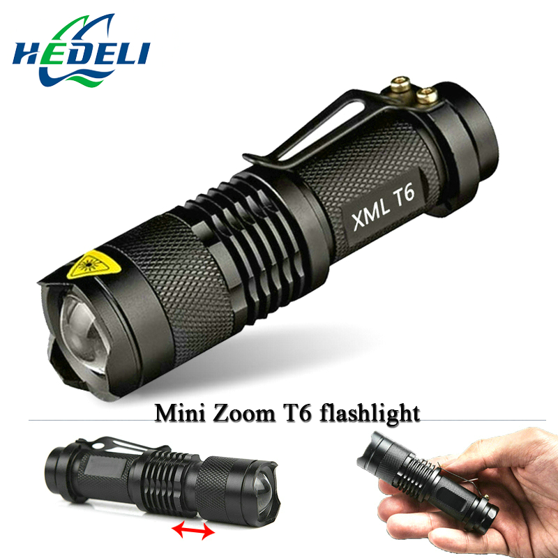 Mini  Zoomable  led flashlight torch cree xml T6 3000 lumens waterproof use rechargeable battery 18650  flash light new rechargeable 600 lumens led flashlight torch cree xml u2 portable flash light free shipping