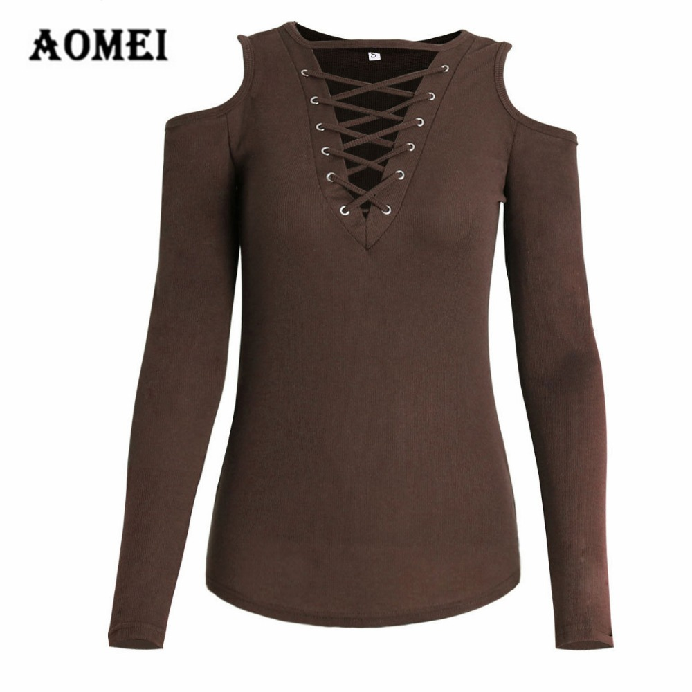 USA Women Fashion Solid Long Sleeve Top Knitted V Neck Sweater Bandage Blouse