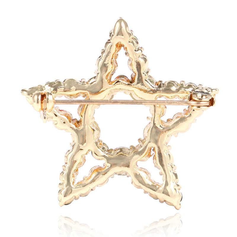 Cindy Xiang Trendi Hollow Bintang Bros untuk Wanita Natal Menghiasi Pin Mantel Ransel Perhiasan Rhinestone Aksesoris Lucu 2018
