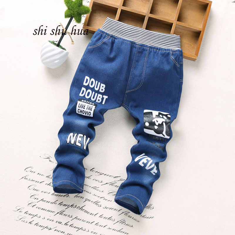 oys girls clothes jeans Kids fashion cartoons printed sports trousers Baby clothes pants pants 2-5 years old baby clothes2018