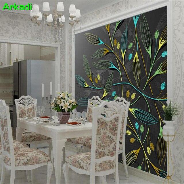 Moderne minimalistischen TV hintergrund wand papier dunkle traum baum  wohnzimmer abstrakte persönlichkeit nach wandbild