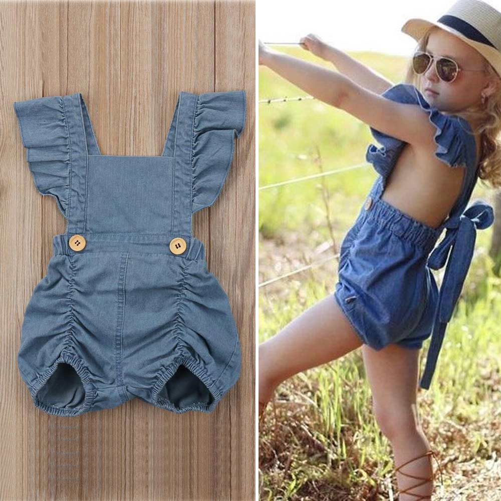 Summer Baby Girl Ruffle Romper Clothes Denim Jeans Backless Infant Sunsuit Clothing Short Sleeve Kids Outfit Toddler Girl Romper 3pcs mini mermaid newborn baby girl clothes 2017 summer short sleeve cotton romper bodysuit sea maid bottom outfit clothing set