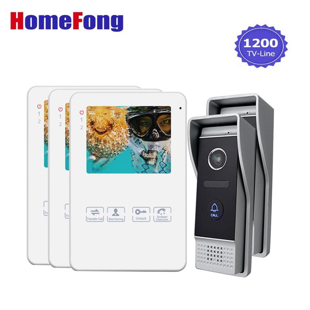 Homefong 4 Inch Home Intercom System 1V3 Video Doorbell