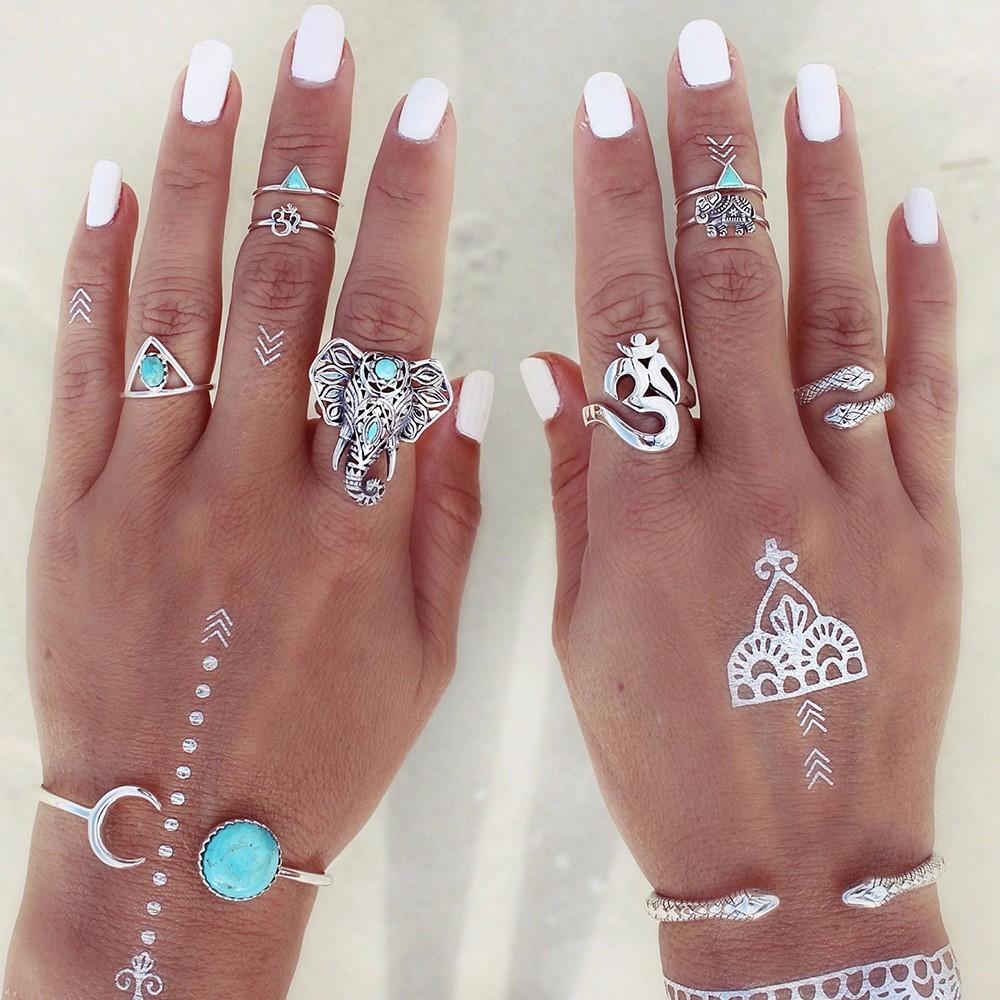 HTB1XNCVLpXXXXatXVXXq6xXFXXXq Fashionable 8-Pieces Boho Retro Spirituality Symbols Stackable Midi Ring Set