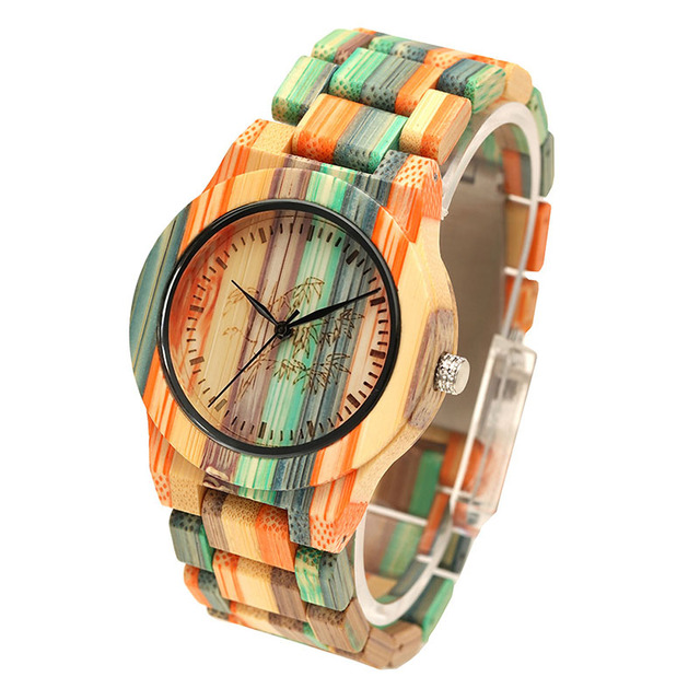 1 Pcs Women Lady Wrist Quartz Watch Wooden Bamboo Strap Round Bamboo Dial Colorful Fashion Gift LL@17