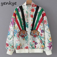 Women Floral Print Tiger Appliques Bomber Jacket Female Long Sleeve Stand Collar Casual Autumn Jacket Plus Size chaqueta mujer