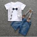 Sodawn 2017 children's clothing set baby boys bowknot shirt+ strap jean 2-piece suit set