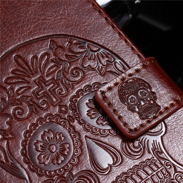 SKULL WOLF 3D EMBOSSED WALLET CASE (5.0 inch)