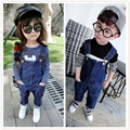 Retail 2016 Baby Kids Girls Boys Jeans Denim Bib Pants Children Trousers Overalls 1-6age
