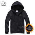 HanHent Cotton Fleece Blend Skulls Print Men Thicken Zipper Hoodies With Hat Casual Men Pullover Hooded Skull Sweatshirt XXXL
