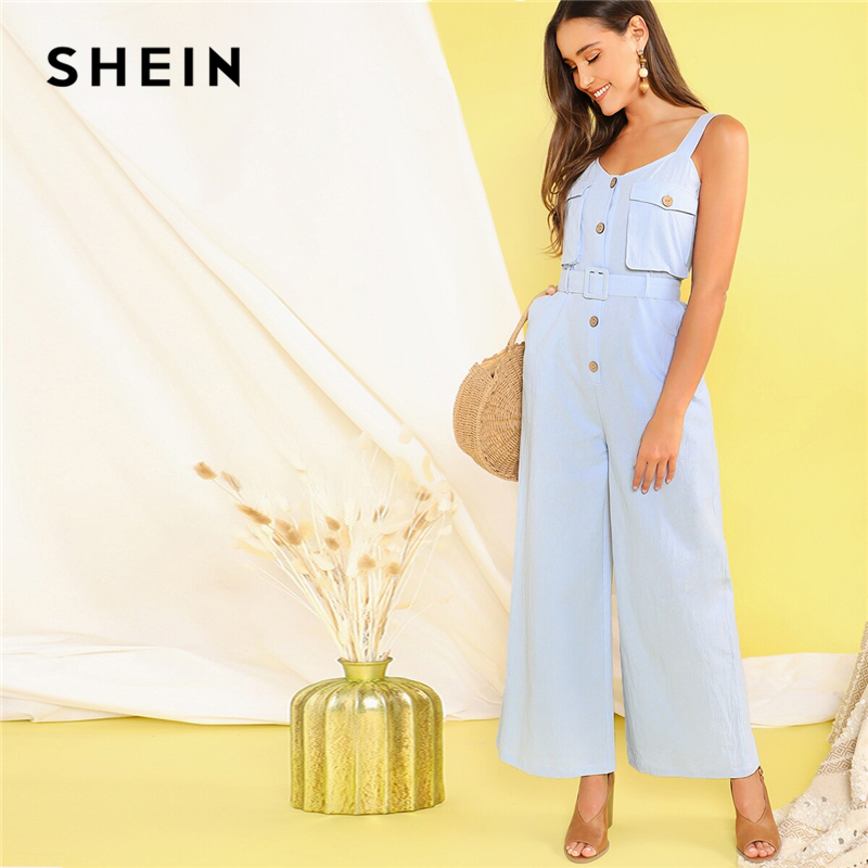 SHEIN Pastel Blue Button Front Flap Pocket Belted Wide Leg Straps   Jumpsuit   Women High Waist Sleeveless Cargo Casual   Jumpsuits