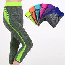 New Style women Capri pants Candy Solid yoga Leggings yoga pants Gym High Waist Running sport  leggings Strech Fitness Clothing