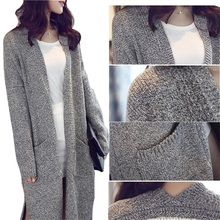 2016 Plus Size Korean Winter Sweater Women Warm Long Sleeve Knitted Cardigan Long Coat Casual Loose womens Cardigans pull femme