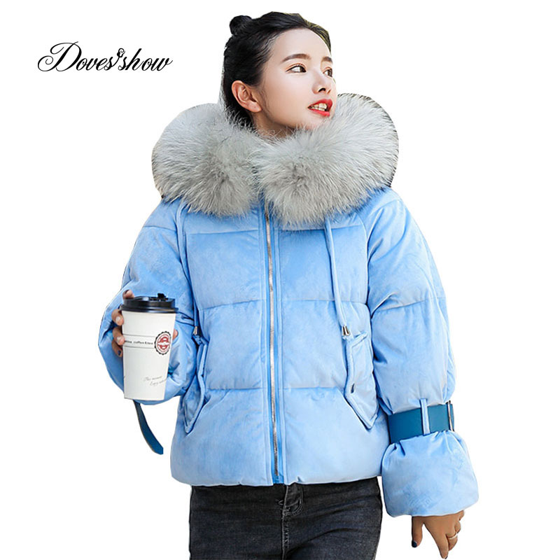 Hooded Fur Collar Velour Winter Down Coat Jacket Short Thick Warm Slim Women Casaco Feminino Abrigos Mujer Invierno 2018 Parkas