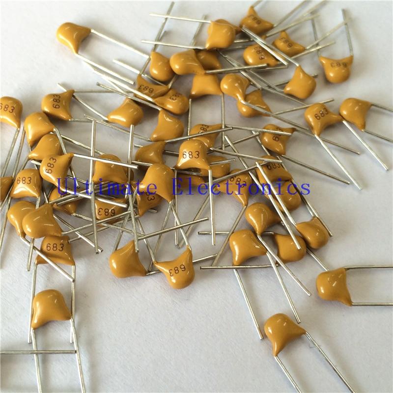 100pcs/lot  Multilayer Ceramic Capacitor 683 50V 68nF 683M P=5.08mm