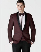 Custom Made Burgundy Groomsmen Shawl Lapel Groom Tuxedos New Style Men Suits Wedding Best Suits(Jacket+Pants+tie)