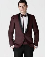 Custom Made Burgundy Groomsmen Shawl Lapel Groom Tuxedos New Style Men Suits Wedding Best Suits Jacket