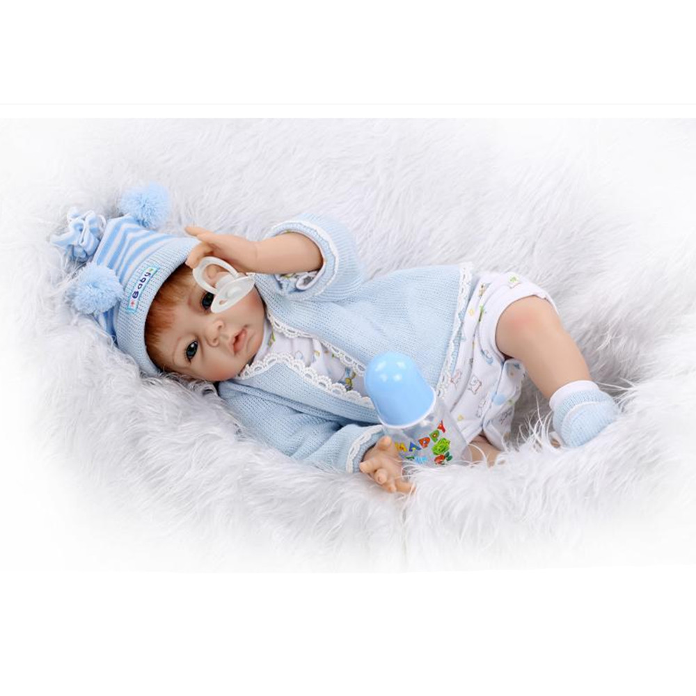 Newborn Doll Silicone Reborn Dolls with Clothes Blue Eyes, Novelty 20 Inch Lifelike Baby Toys for Kid Christmas Gift short curl hair lifelike reborn toddler dolls with 20inch baby doll clothes hot welcome lifelike baby dolls for children as gift