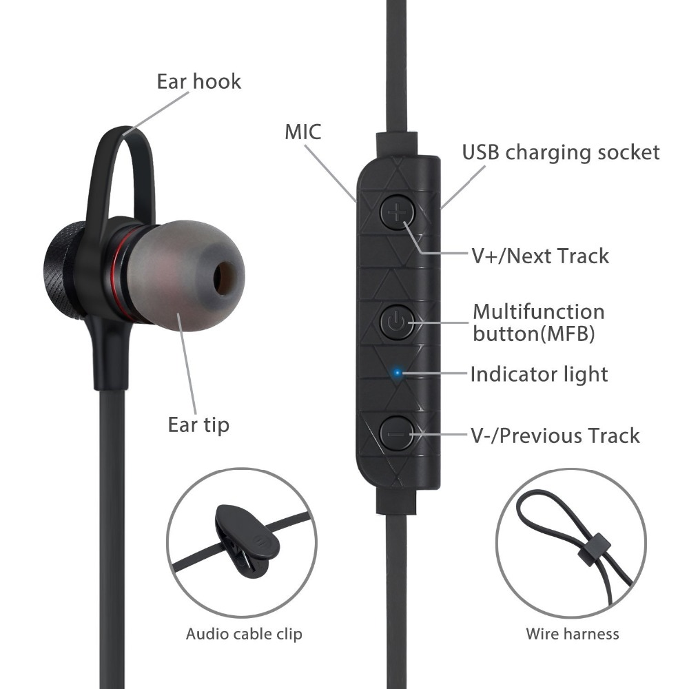 Supology Sport Blutooth Earphone Headphone Wireless Magnet Earpiece Wire Harness Magnets Setero Super Bass Headset Earbuds With Mic For Iphone Xiaomi In Bluetooth Earphones