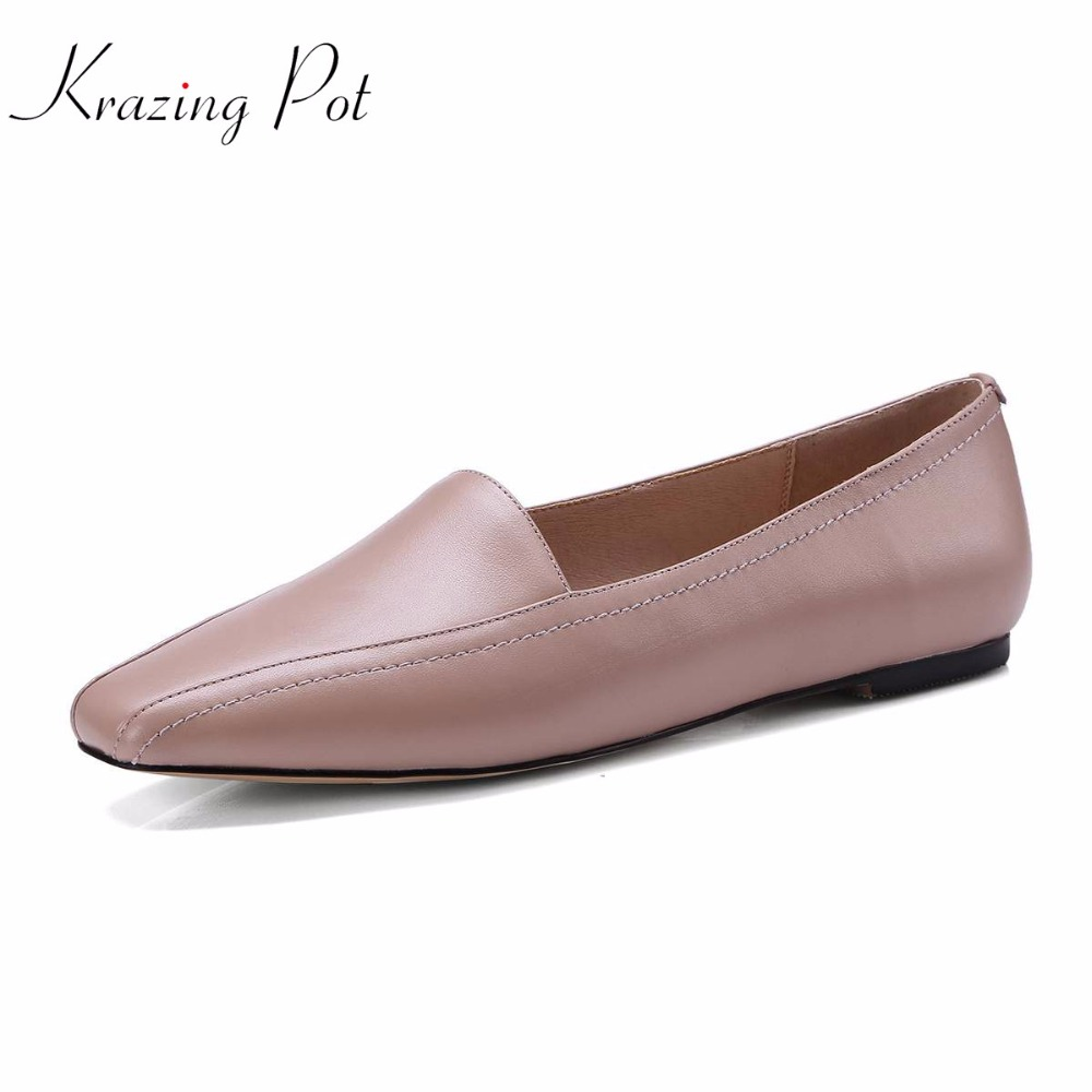 Krazing pot fashion pregnant square toe shallow genuine leather kid suede slip on flats cozy summer British driving shoes L41 krazing pot empty after shallow shoes woman lace work flats pointed toe slip on sheep suede causal summer outside slippers l16