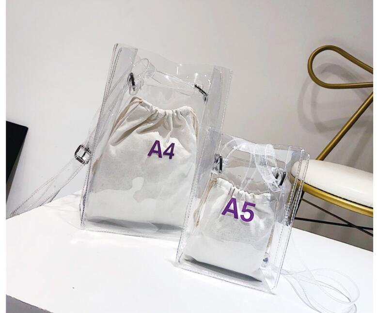 1 set = 2 pieces Women Handbag 2 in 1 Transparent Package A4 A5 PVC Casual Girls Shoulder Bag Alligator Messenger Bag алиэкспресс сумка прозрачная