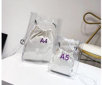 1 set = 2 pieces Women Handbag 2 in 1 Transparent Package A4 A5 PVC Casual Girls Shoulder Bag Alligator Messenger Bag