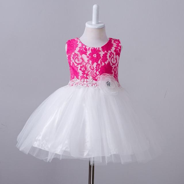 dc7156da80d 2017 Elegant Baby Girl Dress Girls Summer Fashion Lace Big flower Party  Flower Princess Wedding Dresses