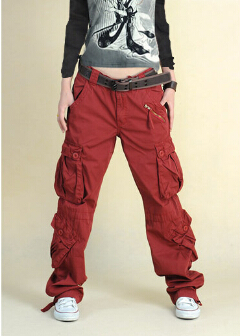 bedf117b847 2015 New Fashion plus size Women s trousers with multi pockets black khaki red  hip hop cargo pants army pants for women men-in Pants   Capris from Women s  ...
