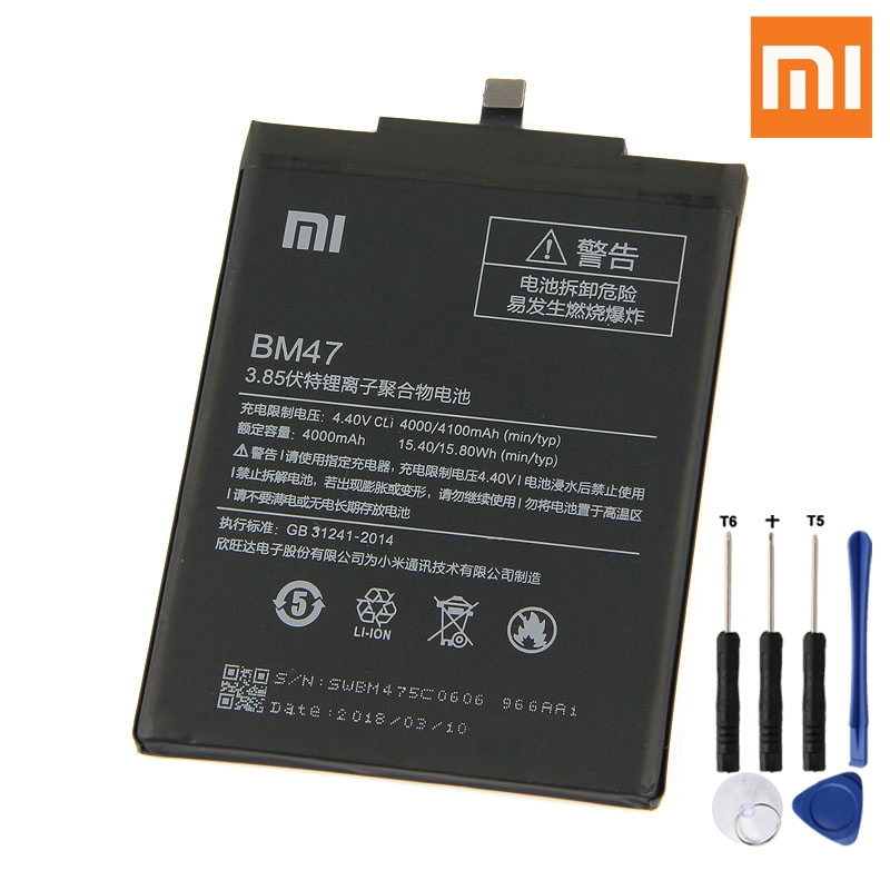Xiao <font><b>Mi</b></font> Original BM47 <font><b>Battery</b></font> For Xiaomi Redmi 3 3S 3X Redmi3 <font><b>4X</b></font> Pro BM47 Genuine Replacement Phone <font><b>Battery</b></font> 4100mAh + Free Tools image