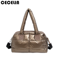 Winter Space Bale Woman Cotton Totes Feather Down Shoulder Bag Birthday Gift Designer Lady Handbag