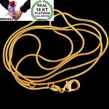 OMHXZJ Wholesale European Fashion Woman Man Party Wedding Gift Snake Chain 18KT Yellow Gold Chain Necklace NA209 solid 999 24k yellow gold chain unique round snake chain necklace 8g