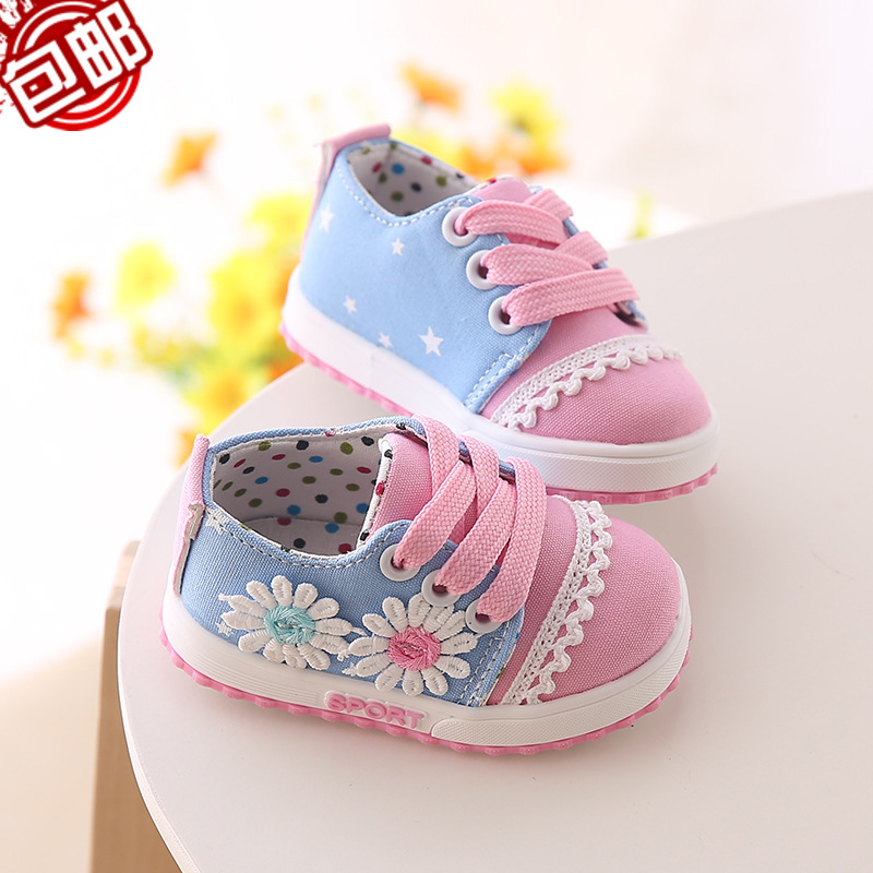 2016 Spring Autumn Female Baby Cloth Canvas Toddler Soft Bottom Shoes Princess Childrens Girls Flower Firstwalker Sneakers 0-1