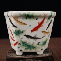 Exquisite Chinese Collectible Small Auspicious Porcelain Flower Pot Painted with Fish