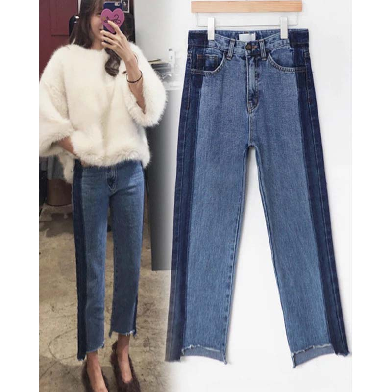 plus size denim women pants jeans ripped high waist blue long irregular boyfriend 5xl bf woman womens winter casual trouser 4