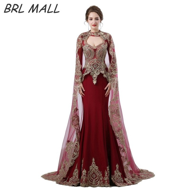 Gorgeous Middle East Dark Red Mermaid Evening Dress With Long