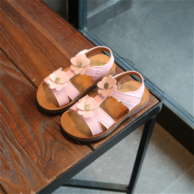 2018 New Girls Summer Shoes Girls Sandals PU Leather Flower Princess Shoes Girls Sandals