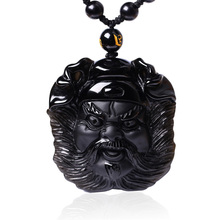New Natural Black Obsidian Chinese God Zhong Kui ChungKuel Head Pendant Women Mens Amulet Lucky Jewelry Pendants+Beads Necklace