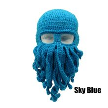 Novelty Handmade Funny Tentacle Octopus Hat Crochet Cthulhu Beard Beanie