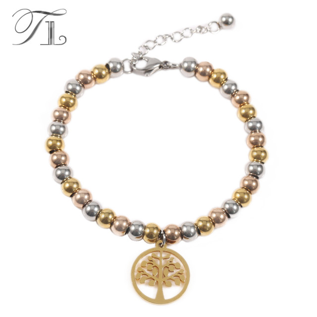 tl stainless steel bracelets gold silver rose gold beads mixed
