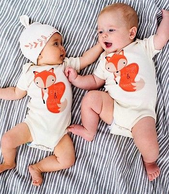 Newborn Spring 2016 Cute Cotton Toddler Baby Girl Boy Fox Jumpers Playsuit Outfits Clothes 0-24M