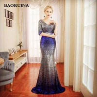 BAORUINA 2018 3 4 Sleeves Sequin Mermaid Evening Dresses Long Formal Dress Embroidery Evening Party Dresses