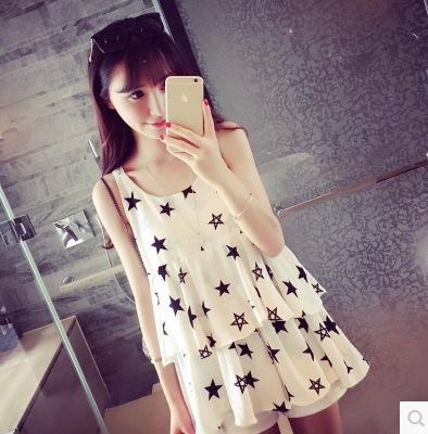 De moda de nova versão coreana da estrela de cinco pontas de babados chiffon suspensórios grávidas vestidos