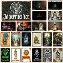 Jadermeister veados cabeça de metal cartaz jager bombas placa de vinho do vintage adesivo de parede pub bar decoração da casa bebida cerveja uísque estanho sinais