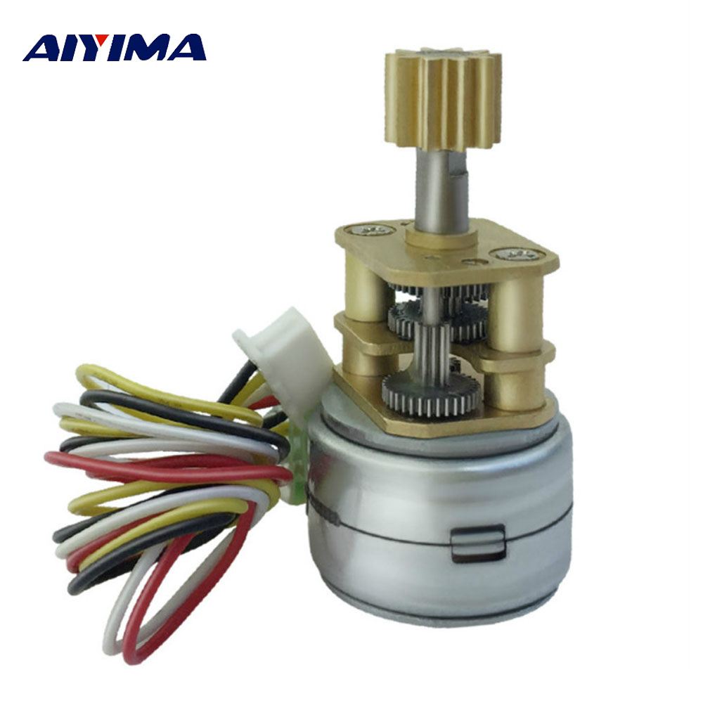 Aiyima GM15BYS Micro Stepper Motor 2 Phase 4 Wire DC5-12V High Torque High Precision Step Gear Motor Automatic Setting Up Motors 28byj 48 12v 4 phase 5 wire stepper motor 28byj48 12v gear stepper motor