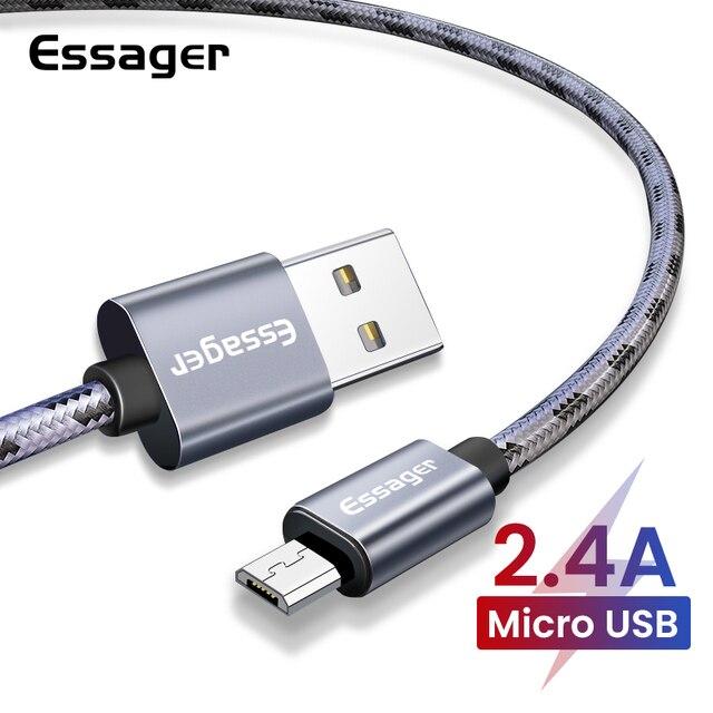 Essager マイクロ USB ケーブルサムスン Xiaomi 高速充電データ充電ワイヤーコードの Android マイクロ Usb 携帯電話ケーブル 2 メートルショート