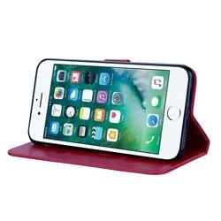 For Fundas iPhone 8 Plus Cover Leather Case Flip Cover For Coque iPhone8Plus Rose Floral Case For Case iPhone 8 Plus Phone Etui 5